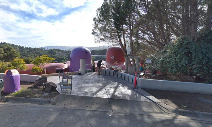 "A Google Maps photo shows the ""Flintstones house"" on 45 Berryessa Way in Hillsborough, California (Google Street View)"