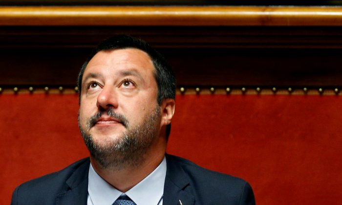 Deputy Prime Minister Matteo Salvini reacts in the upper house of the Italian parliament, in Rome on March 20, 2019. (Yara Nardi/Reuters)
