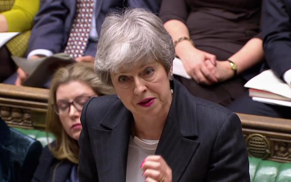 Britain's Prime Minister Theresa May answers questions in Parliament