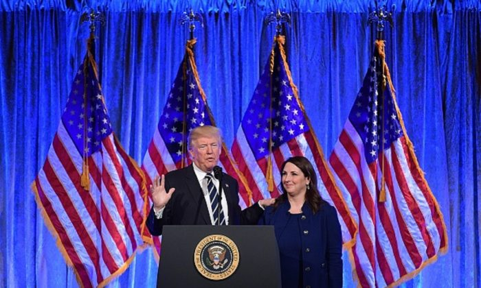 President Donald Trump speaks after his introduction by RNC Chairwoman Ronna Romney McDaniel at a fundraising breakfast in a restaurant in New York, New York on Dec. 2, 2017. (Mandel Ngan/AFP/Getty Images)