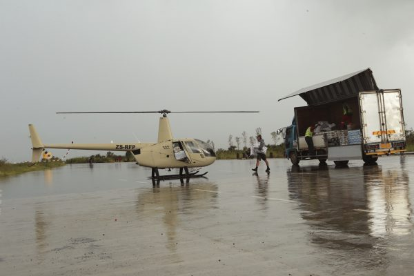 helicopter carries various food