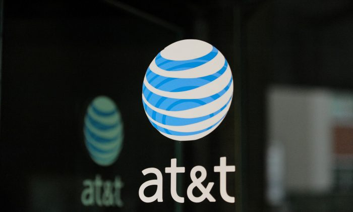 An AT&T logo is seen at an AT&T building in New York City on Oct. 23, 2016. (Stephanie Keith/Reuters)