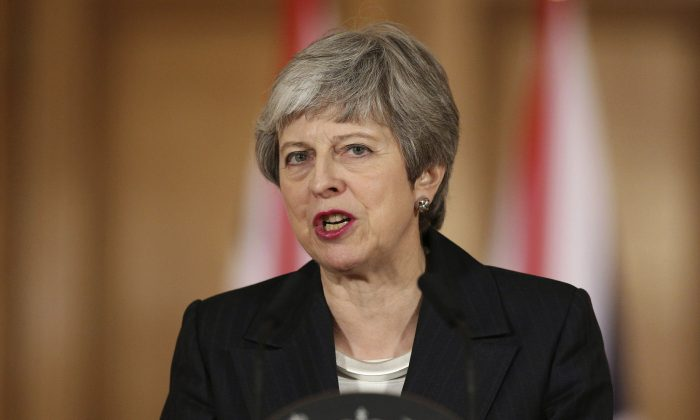 Britain's Prime Minister Theresa May delivers a statement, at 10 Downing Street, in London, on March 20, 2019. (Jonathan Brady/Pool Photo via AP)