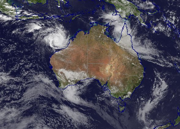 Tropical Cyclone Trevor (Category 1) is located just offshore from Weipa over the Gulf of Carpentaria. Severe Tropical Cyclone Veronica (Category 4) is located northwest of Broome, Western Australia. March 21, 2019 (Commonwealth of Australia, Bureau of Meteorology)