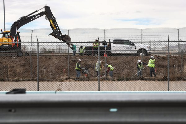 Construction takes place on the border fence separating El Paso, Texas, and Juarez, Mexico