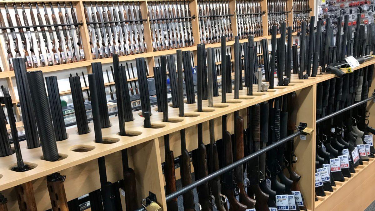 Firearms are displayed at Gun City gunshop