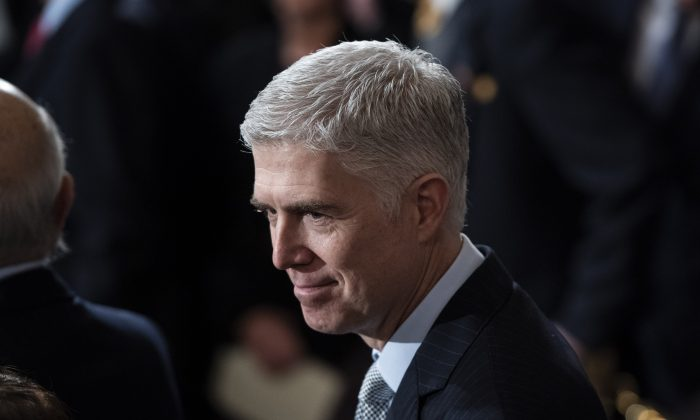 Supreme Court Associate Justice Neil M. Gorsuch at the Capitol Rotunda in Washington on Dec. 03, 2018. (Jabin Botsford - Pool/Getty Images)