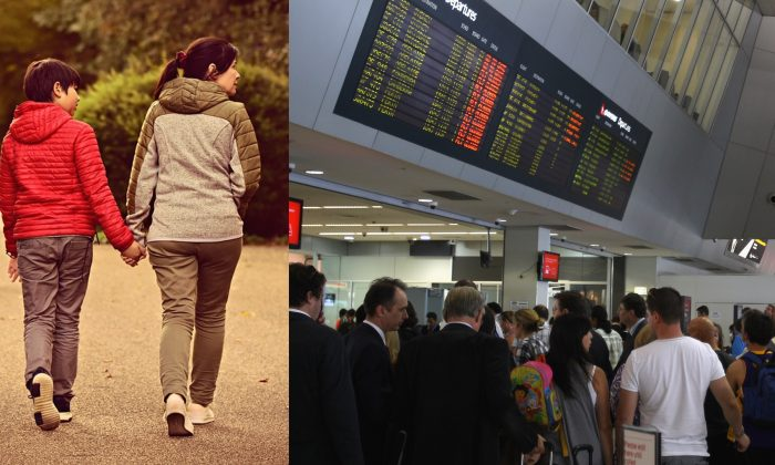 Stock image of a mother and son (Mabel Amber/Pixabay) and the picture of a crowded Melbourne airport. (Mark Dadswell/Getty Images)