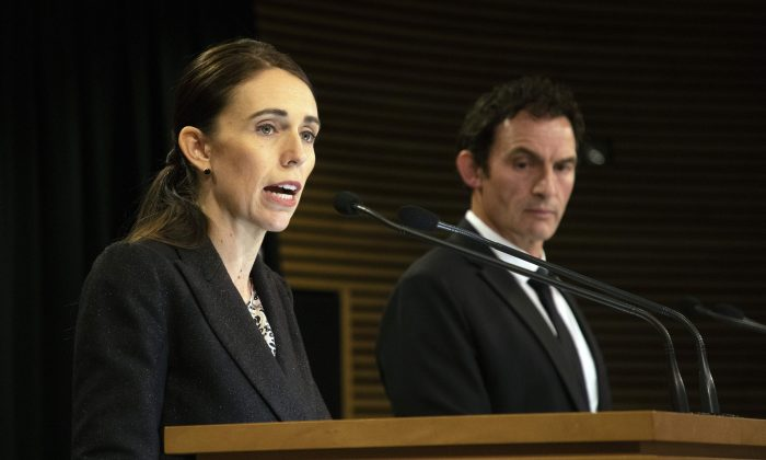 New Zealand Prime Minister Jacinda Ardern (L) speaks during a press conference with Police Minister Stuart Nash at Parliament House in Wellington, New Zealand, on March 21, 2019. (Yelim Lee/AFP/Getty Images)