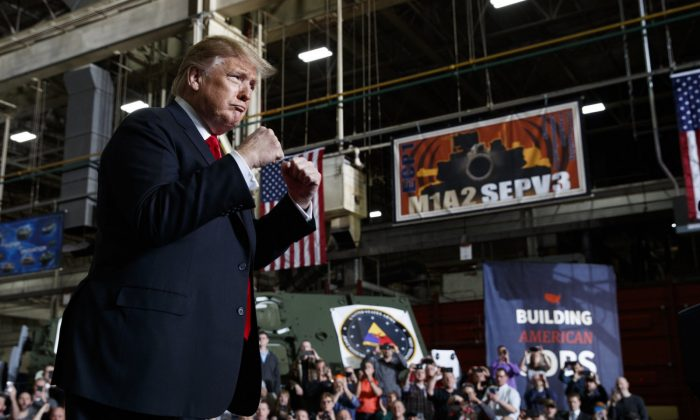 President Donald Trump arrives to deliver remarks at the Lima Army Tank Plant, in Lima, Ohio on March 20, 2019. (Evan Vucci/AP)