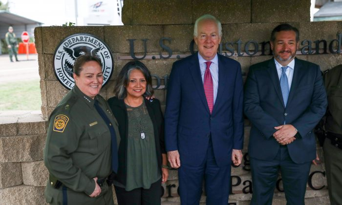 L-R: Border Patrol Chief Carla Provost, Marie Vega, Sen. John Cornyn (R-Texas), and Ted Cruz (R-Texas) stand by the new sign at the Javier Vega, Jr., Border Patrol checkpoint in Sarita, Texas, on March 20, 2019. (Charlotte Cuthbertson/The Epoch Times)