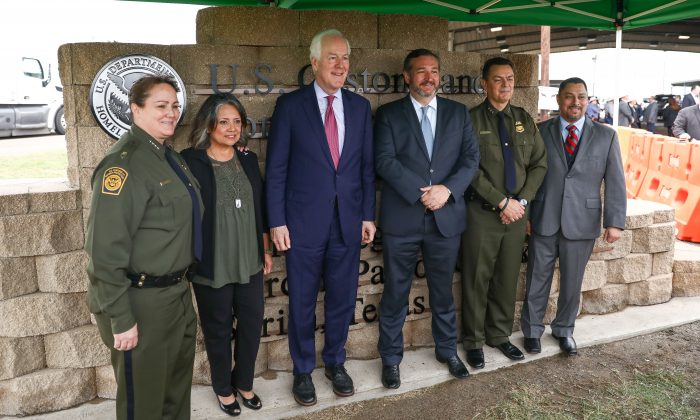 L-R: Border Patrol Chief Carla Provost, Marie Vega, Sen. John Cornyn (R-Texas), Ted Cruz (R-Texas), Rio Grande Valley Border Patrol Chief Rodolfo Karisch, and Paul Perez, vice president National Border Patrol Council, stand by the new sign at the Javier Vega, Jr., Border Patrol checkpoint in Sarita, Texas, on March 20, 2019. (Charlotte Cuthbertson/The Epoch Times)