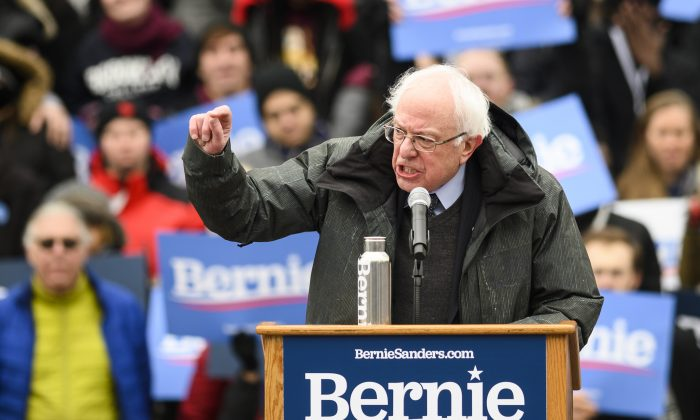 Senator Bernie Sanders speaks during a rally to kick off his 2020 US presidential campaign, in the Brooklyn borough of New York City on March 2, 2019. (JOHANNES EISELE/AFP/Getty Images)