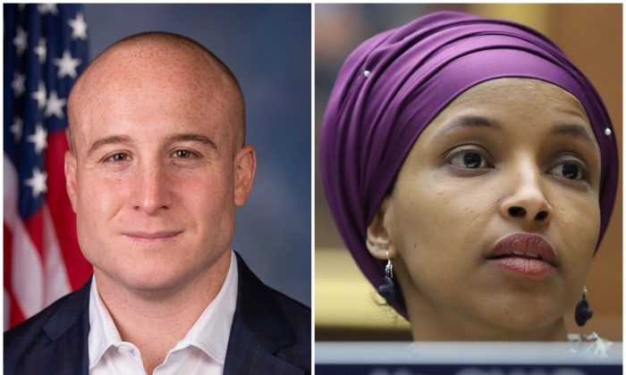 Rep. Max Rose apologized to his Jewish constituents for Rep. Ilhan Omar's anti-semitic comments. (United States House of Representatives and Mark Wilson/Getty Images)