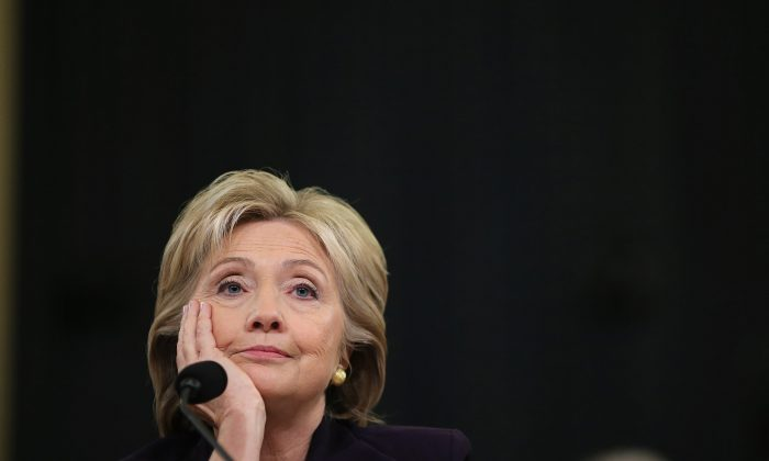 Democratic presidential candidate and former Secretary of State Hillary Clinton testifies before the House Select Committee on Benghazi Oct. 22, 2015 on Capitol Hill in Washington. (Chip Somodevilla/Getty Images)