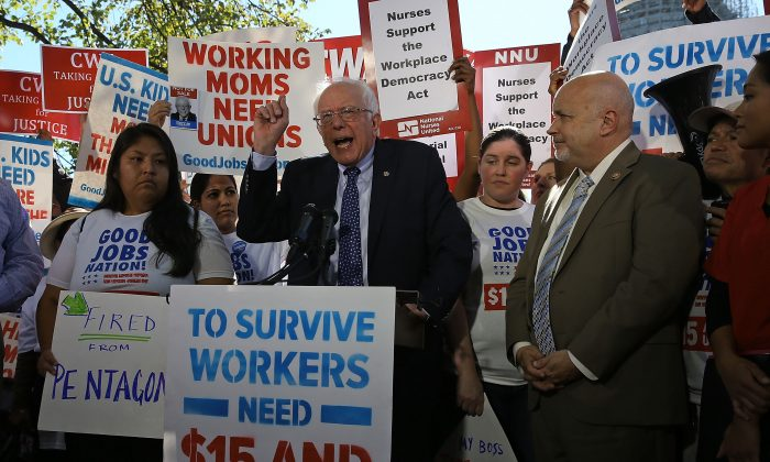 Democratic presidential candidate Sen. Bernie Sanders (I-VT) speaks during a news conference on better wages for workers, on Capitol Hill Oct. 6, 2015 in Washington, DC. (Mark Wilson/Getty Images)