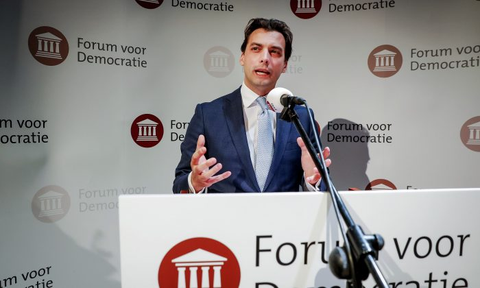 Thierry Baudet of the Forum for Democracy party gives a speech during election night in Zeist, the Netherlands, on March 21, 2019. (Bart Maat/AFP/Getty Images)