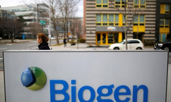 FILE PHOTO: A sign marks a Biogen facility in Cambridge, Massachusetts, U.S. January 26, 2017.   REUTERS/Brian Snyder
