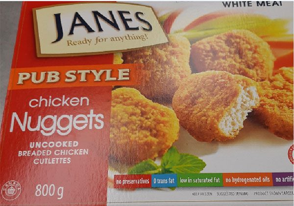 A food recall warning has been issued by the Canadian Food Inspection Agency for Janes brand pub style chicken nuggets, on March 21, 2019. (CFIA)