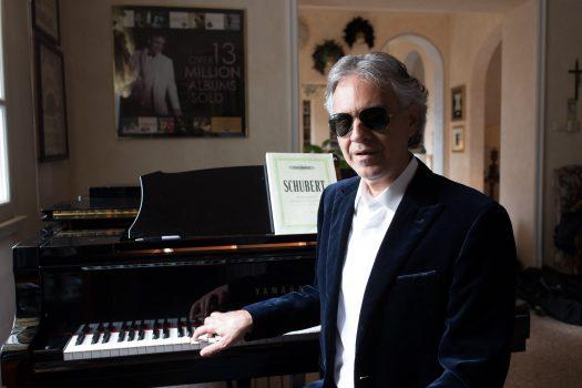 Andrea Bocelli at the piano in his house, on Feb. 16, 2016. (Massimo Sestini)