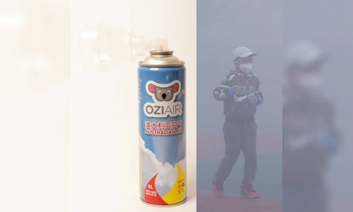 A can of Ozi Air containing what is touted to be fresh Outback Australian air (L) and a person walking through thick smog in Asia on March 13, 2019. (Courtesy of Ozi Air)