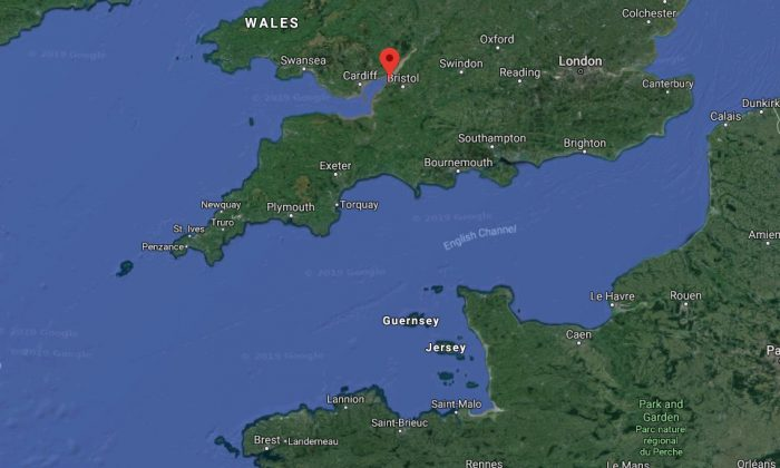 The coastal town of Portishead, population 25,000, in the south of England is marked in red. (Screenshot/Googlemaps)
