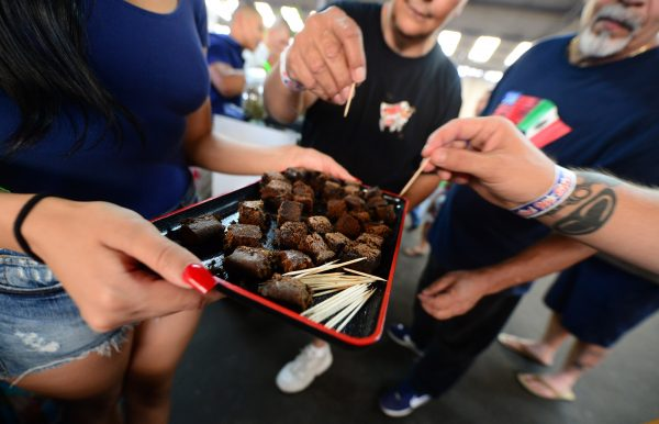 Care-carrying medical marijuana patients sample the brownies at Los Angeles