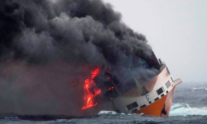 A fire broke out aboard the Grande America on March 10, 2019. (France's Marine Nationale)