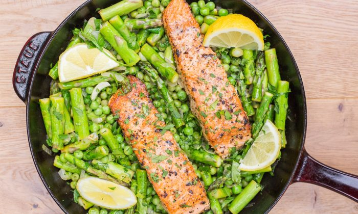 This one-skillet salmon is a culinary representation of spring in Northern California. (Caroline Chambers)