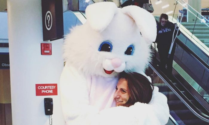 Londonderry resident Mark DeAngelis dresses in a bunny costume to propose to wife Joelene for their 21st wedding anniversary at Manchester-Boston Regional Airport, on March 19, 2019. (Courtesy of Manchester-Boston Regional Airport)