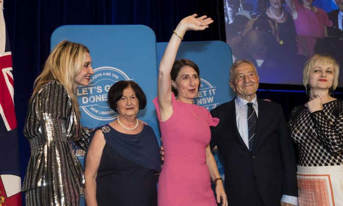 NSW Premiere Gladys Berejiklian (C) celebrates her win with sister Mary (L-R), mother Arsha, father Krikorat and sister Rita father in Sydney, Australia, on March 23, 2019. (Brook Mitchell/Getty Images)