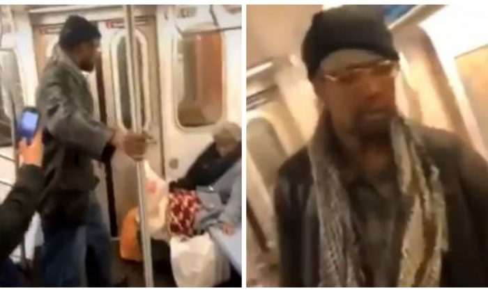 A man was filmed punching a woman in the face on the New York City subway on March 10, 2019. (Rello/Twitter; NYPD)