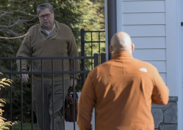 Attorney General William Barr leaves his home in McLean,