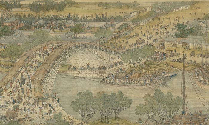 """A section of the """"Qing Court Version"""" of """"Along the River During the Qingming Festival,"""" a handscroll dated 1736, by five artists from the Painting Academy and active at the Qing court: Chen Mei, Sun Hu, Jin Kun, Dai Hong, and Cheng Zhidao. Ink and color on silk, at the National Palace Museum (Public Domain)"""
