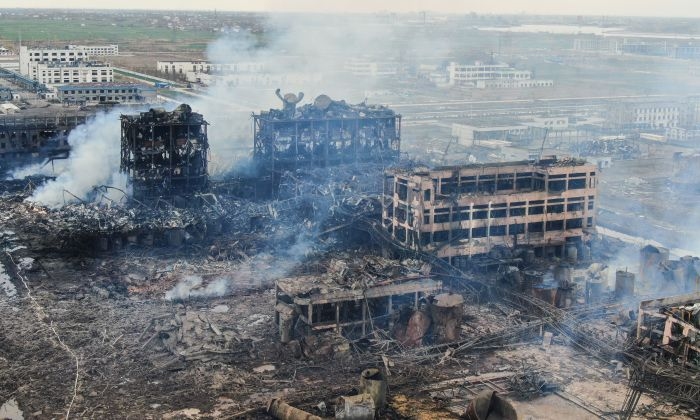 An aerial view shows damaged buildings after an explosion at a chemical plant in Yancheng in China's eastern Jiangsu province early on March 22, 2019. (STR/AFP/Getty Images)