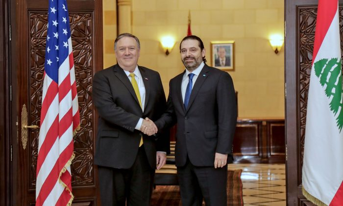 Secretary of State Mike Pompeo (L) shakes hands with Lebanon's Prime Minister Saad Hariri (R) in the capital Beirut on March 22, 2019. (ANWAR AMRO/AFP/Getty Images)