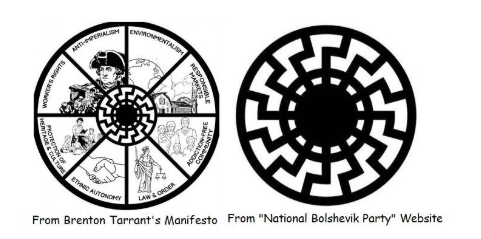 The National Bolshevik symbol used in Brenton Tarrant's manifesto (left) and on the National Bolshevik Party website (right).