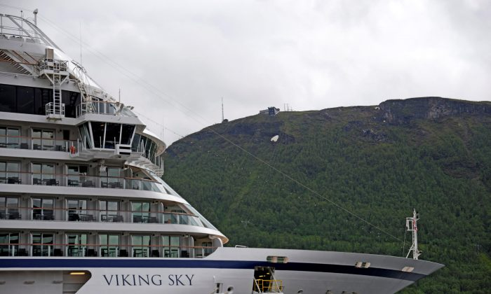A cruise ship Viking Sky drifts towards land after an engine failure, Hustadvika, Norway, on March 23, 2019. (Frank Einar Vatne/NTB Scanpix/via Reuters)