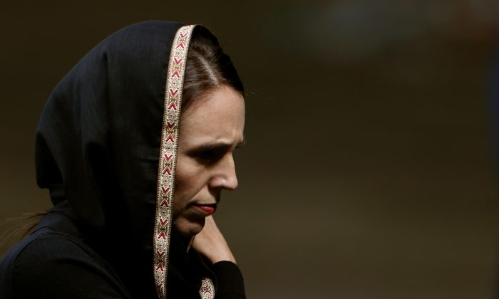 New Zealand's Prime Minister Jacinda Ardern leaves after the Friday prayers at Hagley Park outside Al-Noor mosque in Christchurch, New Zealand on March 22, 2019. (Jorge Silva/Reuters)