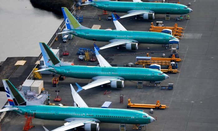 An aerial photo shows Boeing 737 MAX airplanes parked at the Boeing Factory in Renton, Washington on March 21, 2019.  (Lindsey Wasson/Reuters)