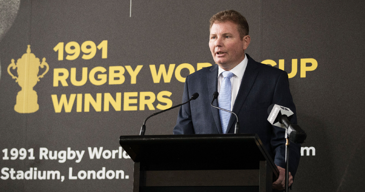 MP Craig Laundy speaks during the opening of the Rugby Australia