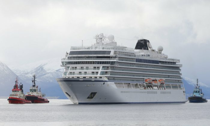 The cruise ship Viking Sky arrives at port off Molde, Norway, on March 24, 2019. (Svein Ove Ekornesvag/NTB scanpix via AP)