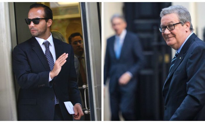 Former foreign policy advisor to President Donald Trump's election campaign, George Papadopoulos (MANDEL NGAN/AFP/Getty Images) and then-Australian High Commissioner to the United Kingdom Alexander Downer (Jack Taylor/Getty Images).