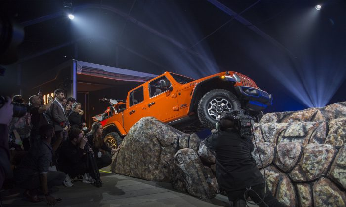 LOS ANGELES, CA - NOVEMBER 28: The new Jeep Gladiator truck is shown during the auto trade show, AutoMobility LA, at the Los Angeles Convention Center on November 28, 2018 in Los Angeles, California. More than 50 vehicles will debut during AutoMobility LA, which precedes the LA Auto Show, open to the public December 1 through 10.  (Photo by David McNew/Getty Images)