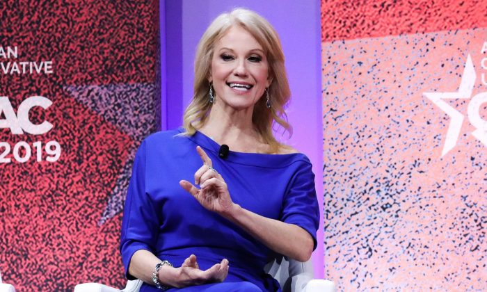 Senior Counselor to the President Kellyanne Conway at the CPAC convention in National Harbor, Md., on March 1, 2019. (Samira Bouaou/The Epoch Times)