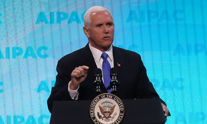 Vice President Mike Pence speaks at the annual American Israel Public Affairs Committee (AIPAC) conference in Washington, DC, on March 25, 2019. (Mark Wilson/Getty Images)