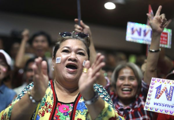 Supporters of Pheu Thai Party react