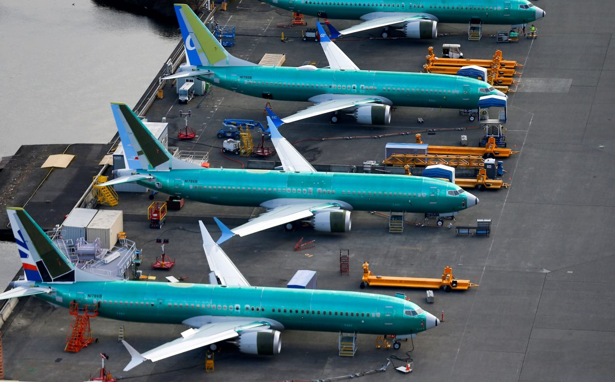 An aerial photo shows Boeing 737 MAX airplanes parked at the Boeing Factory in Renton, Washington