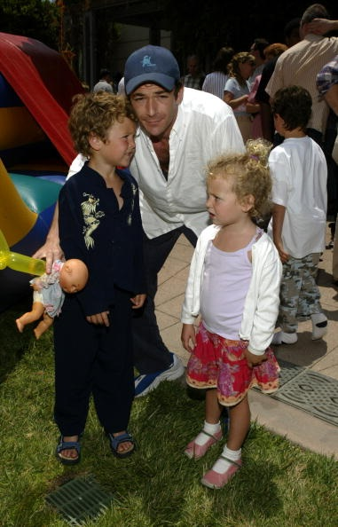 "Actor Luke Perry and kids Jack and Sophie attend an afterparty for the premiere of ""Garfield"""