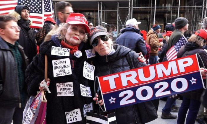 Trump supporter Hedy Aldina (left) with friend at Trump rally in NYC on March 24, 2019. (NTD)